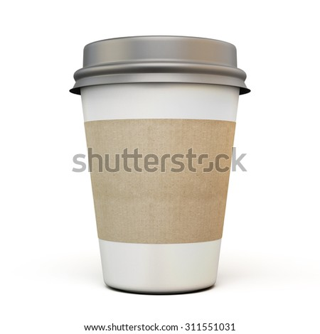 Cup of coffee with a dark cap and carton labels on a white background. 3d.