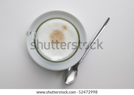cup of coffee with a foam isolated on white background - stock photo