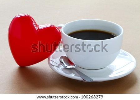Cup of coffee with a heart. - stock photo
