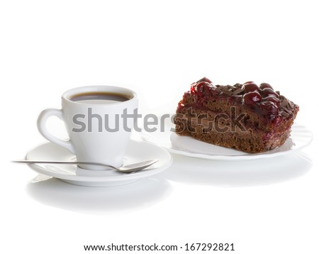 cup of coffee with a piece of cake on a napkin isolated on white background