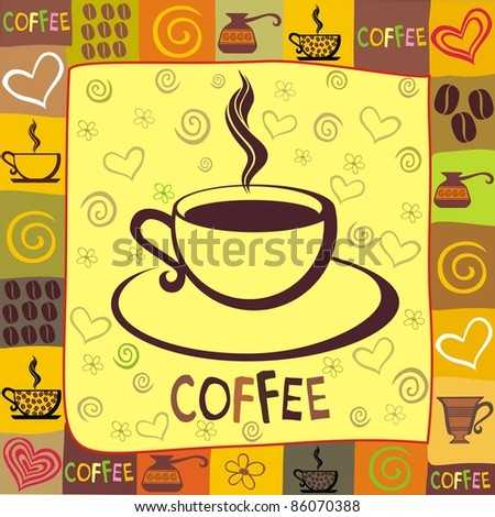 Cup of coffee with abstract background - stock photo