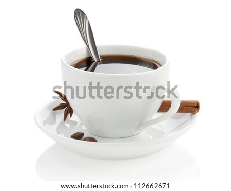 cup of coffee with beans and spoon isolated on white background - stock photo