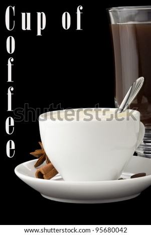 cup of coffee with beans isolated on black background - stock photo
