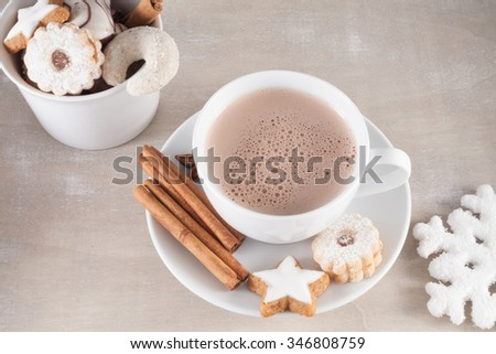 Cup of coffee with cakes of Christmas - stock photo
