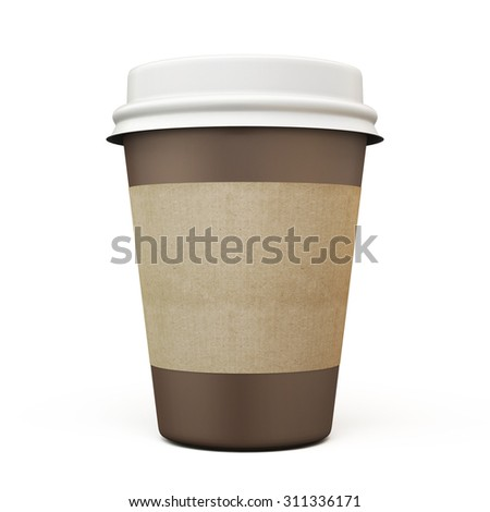 Cup of coffee with carton label isolated on white background. 3d. - stock photo