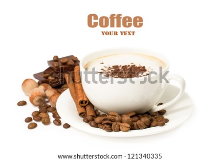 cup of coffee with chocolate , cinnamon and nuts isolated on white - stock photo