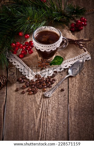 cup of coffee with christmas decoration  - stock photo