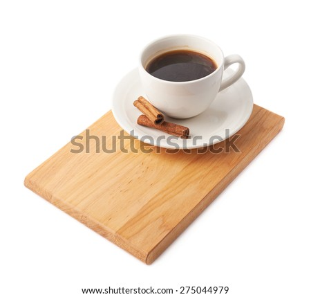 Cup of coffee with cinnamon sticks over the wooden board, composition isolated over the white background - stock photo