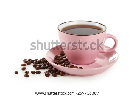 Cup of coffee with coffee beans isolated on white - stock photo