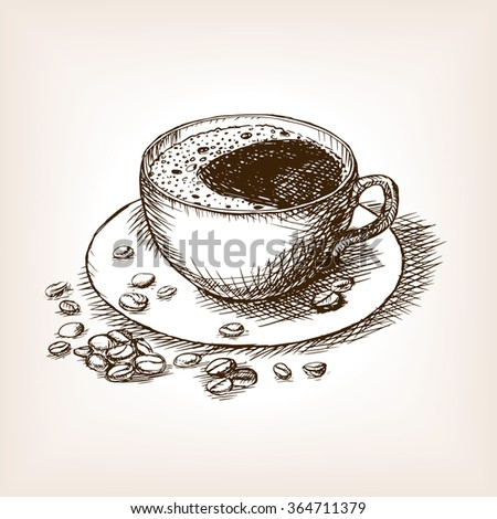 Cup of coffee with coffee beans sketch style raster illustration. Old engraving imitation. Hand drawn sketch imitation - stock photo