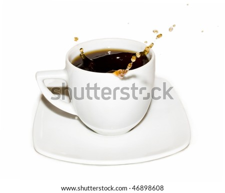 Cup of coffee with coffee splashing isolated on white background - stock photo