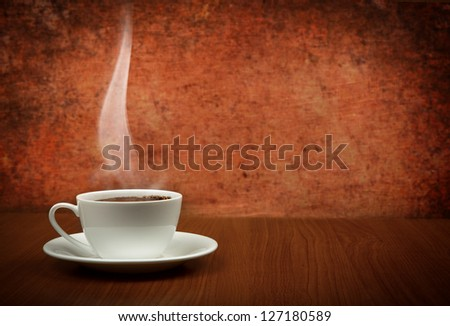 cup of coffee with copy space - stock photo