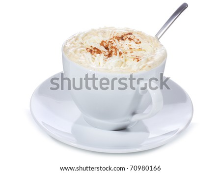 cup of coffee with cream on white background