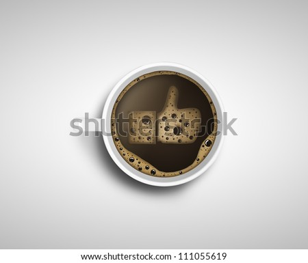 Cup of coffee with foam in like form - stock photo