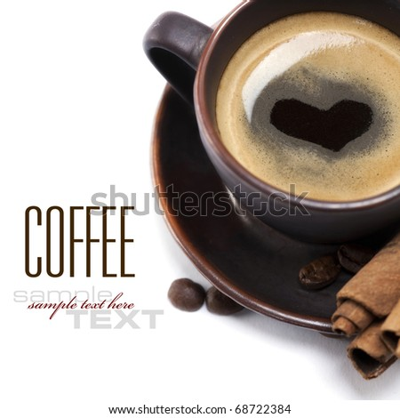 Cup Of Coffee With Heart Image On White Background (with sample text) - stock photo