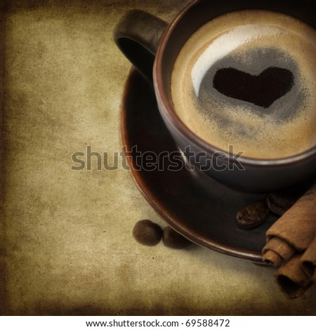 Cup Of Coffee With Heart Image  (St Valentine  or Love concept) - stock photo