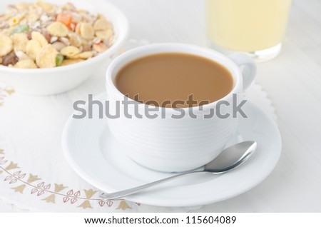 cup of coffee with milk - stock photo