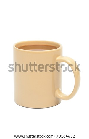 cup of coffee with milk on white background - stock photo
