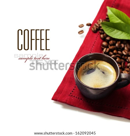 cup of coffee with red napkin (with sample text) - stock photo