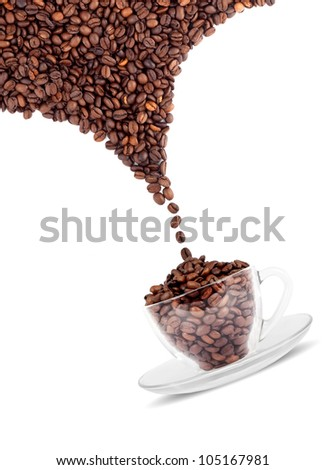 Cup of coffee with seed isolated on a white background - stock photo
