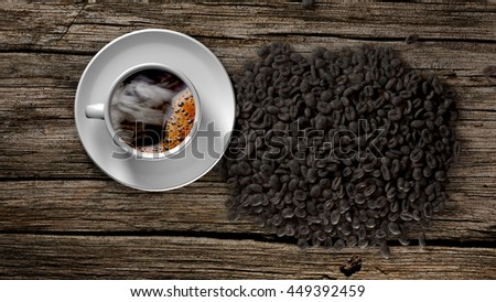 Cup of coffee with smoke and coffee beans on an old wooden table. 3D Rendering - stock photo
