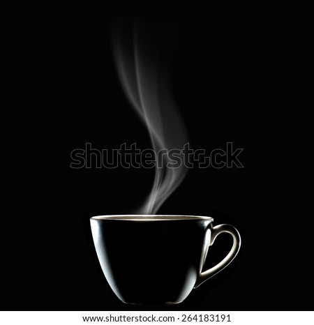 Cup of coffee with smoke on black background, This photo is available without smoke - stock photo