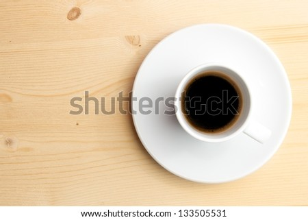 cup of coffee with space for text over wood background