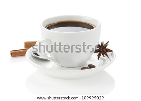 cup of coffee with spices and beans isolated on white background - stock photo