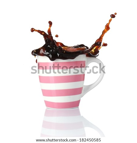 Cup of coffee with splash, isolated on white - stock photo