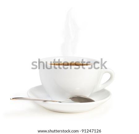 cup of coffee with spoon isolated on white