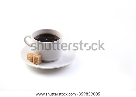 cup of coffee with sugar on a white background