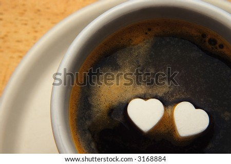 cup of coffee with two hearts on surface