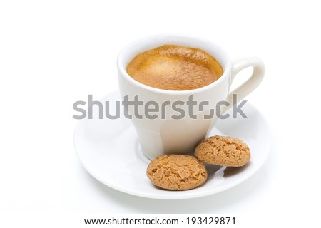 cup of espresso and biscotti, isolated on white