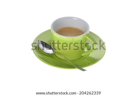 cup of espresso coffee with silver spoon on white background - stock photo