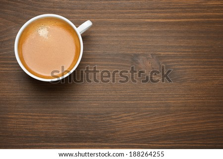 cup of espresso on a wooden background, concept photo, top view - stock photo
