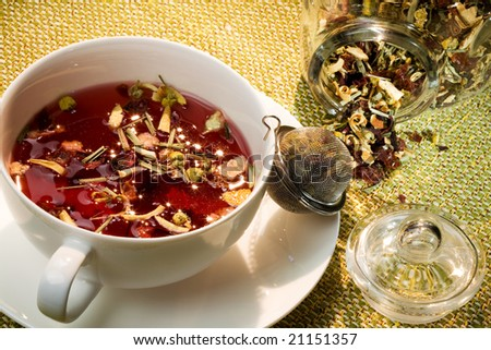 cup of excellent aromatic tea - stock photo