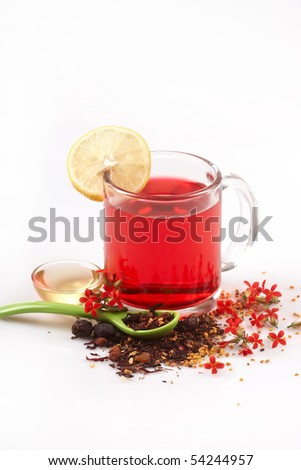 Cup of fruit and floral tea