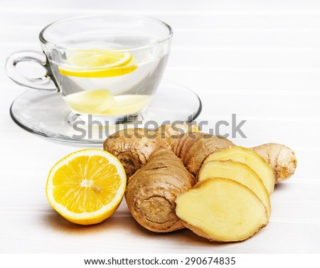 cup of ginger tea - stock photo