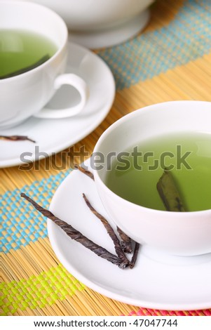 cup of green tea - stock photo