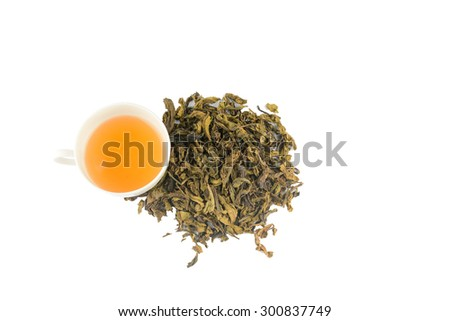 Cup of green tea and green tea, isolated on white - stock photo
