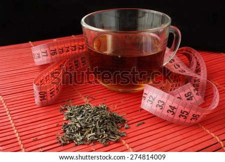 Cup of green tea for weight loss - stock photo