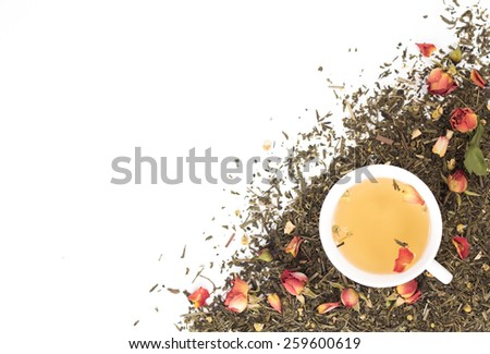 cup of green tea on dry background. View from above. - stock photo