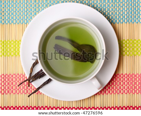 cup of green tea. top view . - stock photo