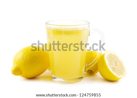 Cup of healthy hot lemon drink on white - stock photo