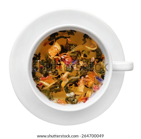 Cup of herbal tea isolate on white - stock photo