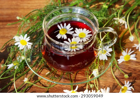 Cup of herbal tea with chamomile flowers on wooden table in garden - stock photo