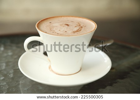 cup of hot chocolate in cafe - stock photo