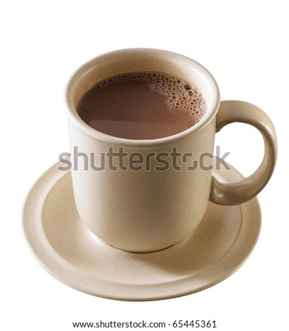 Cup of hot chocolate isolated on white background. - stock photo