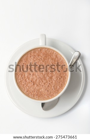 Cup of hot chocolate on a white background ( top view)