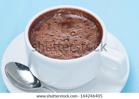 cup of hot chocolate, top view, close-up - stock photo